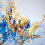 Sitzend am blauen Tuch (Elisa) 100x100